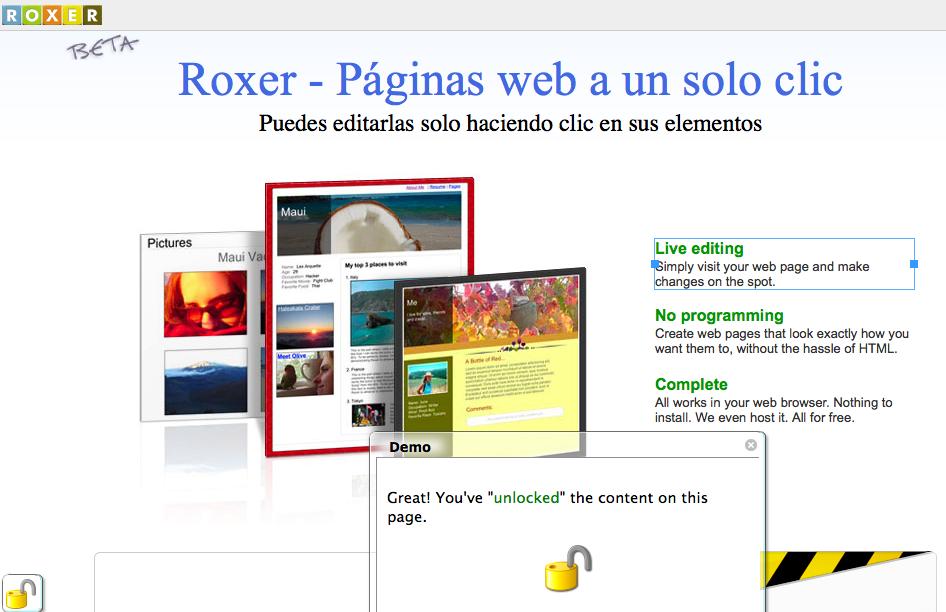 Roxer – Tu Web en un solo clic