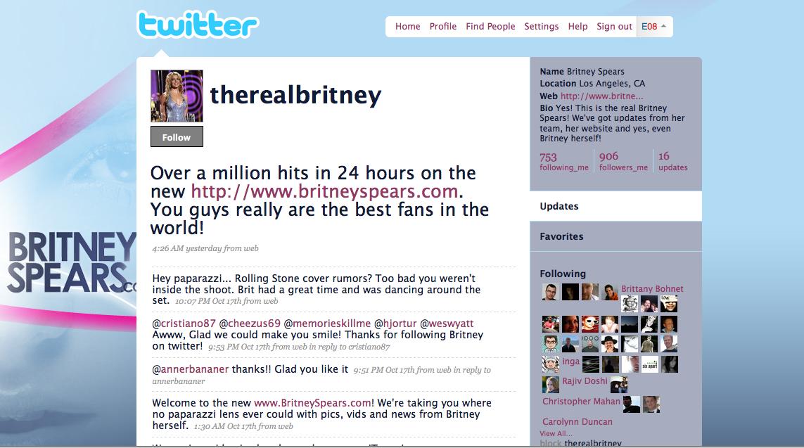 Britney Spears también en Twitter