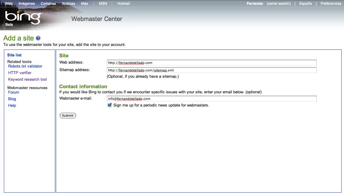 Bing para Webmasters - Añadir sitio