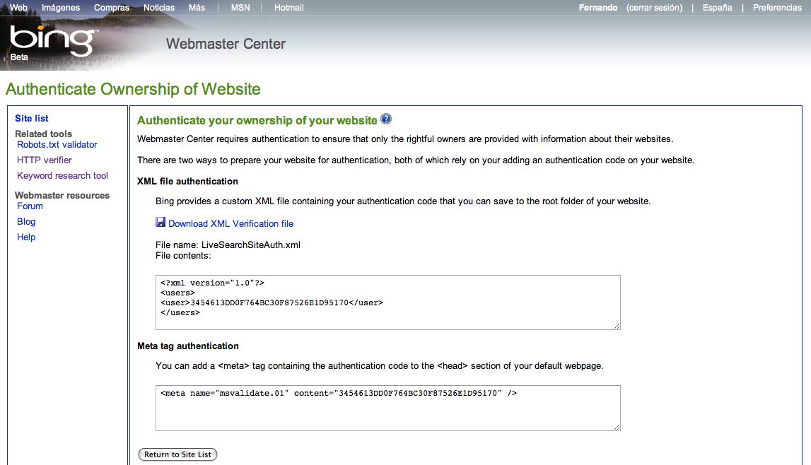 Bing para Webmasters - Comprobar propietario