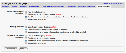 Controles de Spam en Google Groups