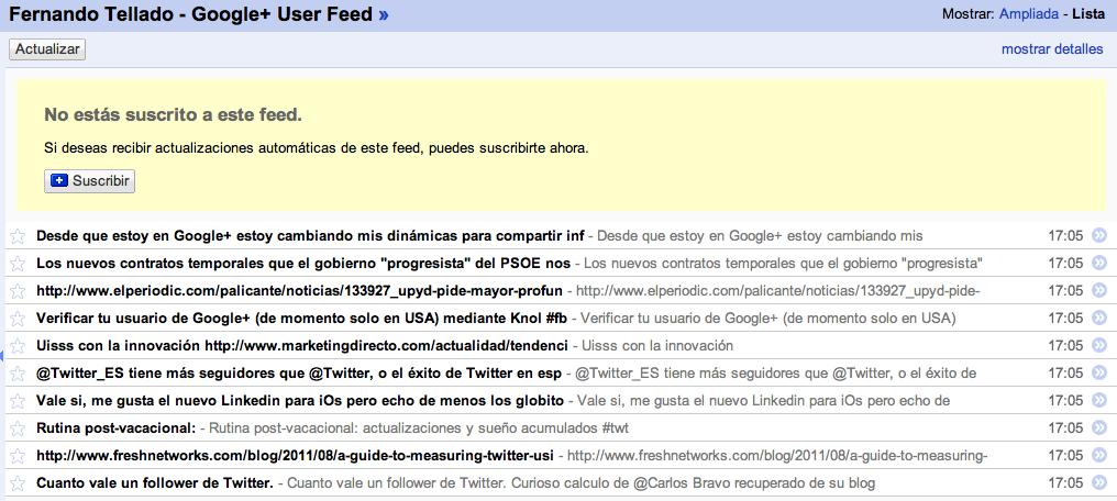 De Google+ a Facebook y Twitter mediante RSS