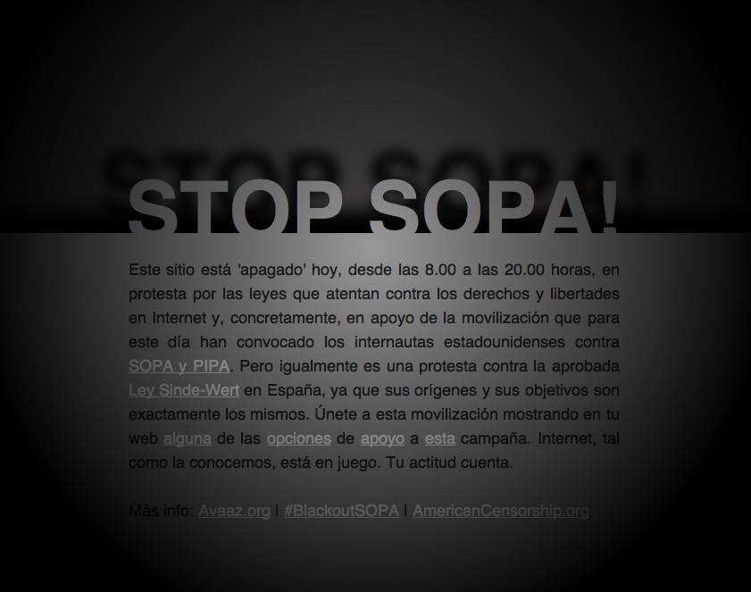 Apago el blog para que no me lo apaguen #SOPA #PIPA #leysindewert